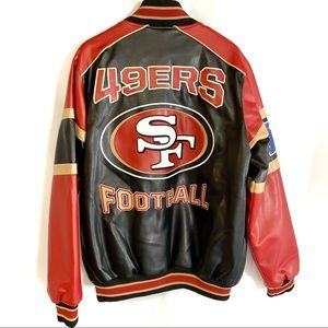 San Fransisco 49ers black red Faux Leather Jacket
